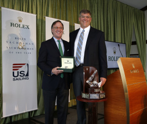 Brian Porter (right) receives the 2013 Rolex Yachtsman of the Year Award from Rolex Watch USA's Peter Nicholson. Photo credit: Rolex/Tom O'Neal
