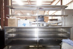 Dish Cabinet Eagle Group 18x96 + Double Decker Table Mounted Shelf 12x96 with 2 HLB Lamps --- $1900